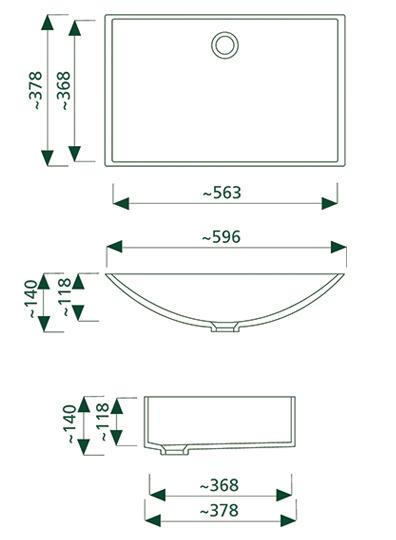 getacore wasbak GC-W-600  rechthoekig